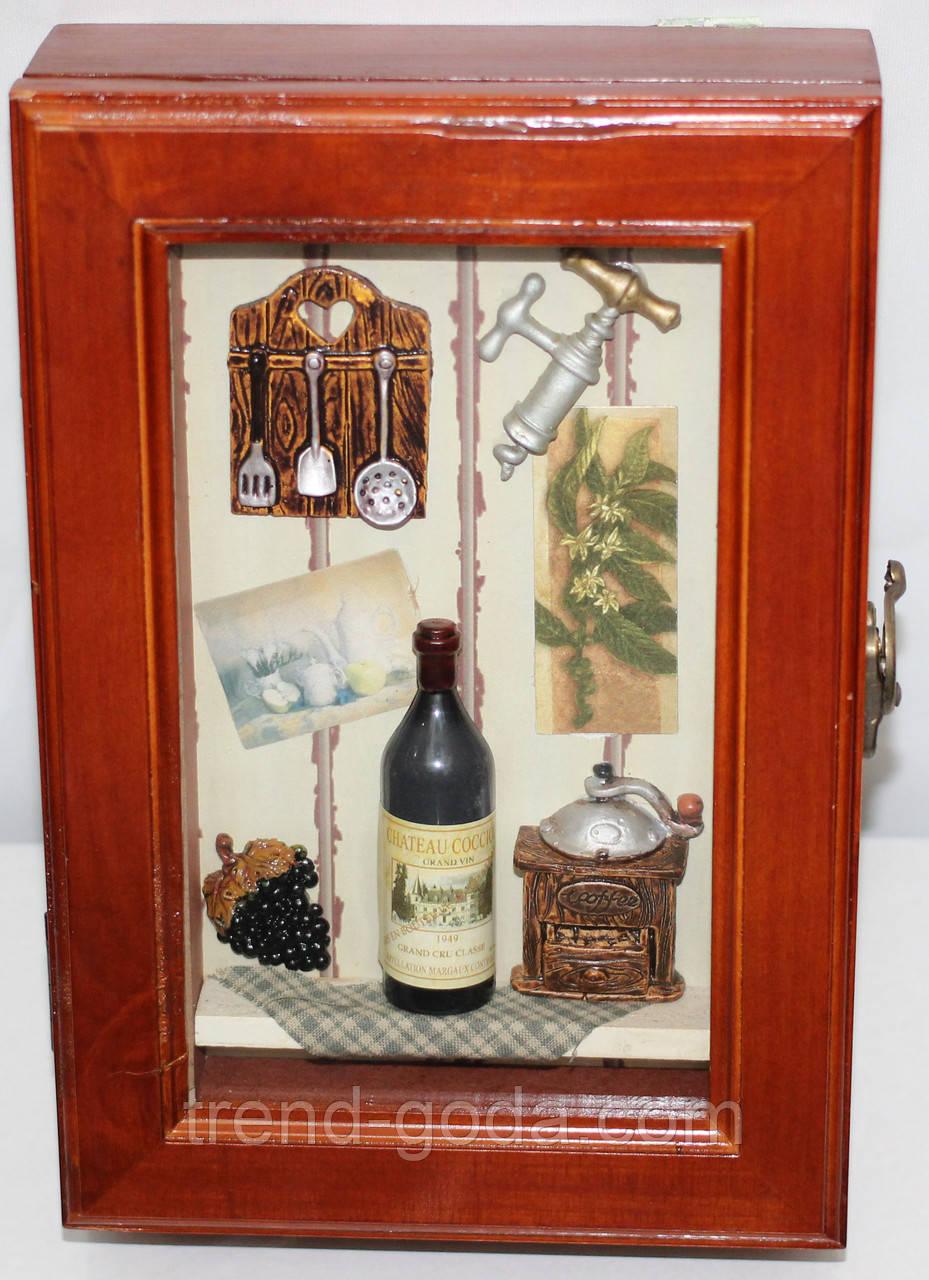 Ключница настенная, деревянная, Кухонька с кофе