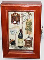 Ключница настенная, деревянная, Кухонька с кофе, фото 1