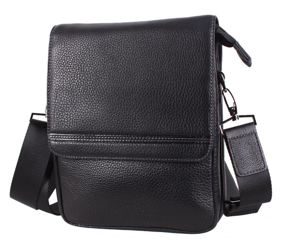 Добротная мужская кожаная сумка DL5317-4 черная