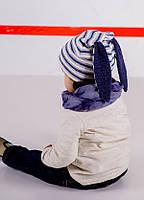 """Комплект шапочка с ушами и снуд для мальчика """"Хосе"""" синий"""
