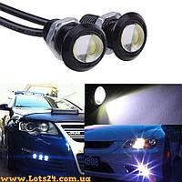 2шт LED линзы 18мм 3W (дневные ходовые огни светодиодные, ДХО, DRL, орлиный глаз