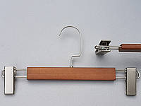 Плечики вешалки тремпеля деревянные коричневого цвета  для брюк и юбок, длина 31 см