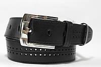 Ремень кожаный 'NewJeans' 45 мм черный с перфорацией
