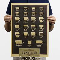 """Постер рецепты кофе """"ESPRESSO"""" 51х36 см"""