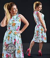 Летнее платье ниже колен, больших размеров - 16316