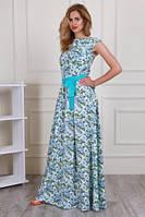 Очень красивое платье макси нежной расцветки с контрастным поясом