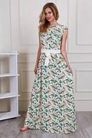 Очень красивое платье макси  с контрастным поясом  из креп -шёлка