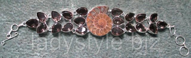 купить серебряное колье украшения подвеска кулон аммонит цитрин жемчуг