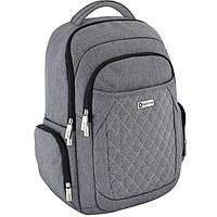 Рюкзак Optima17 O97413 серый полиэстер,анат. сп., Laptop-карман,2 бок. кар.,отд. на молнии., органайзер, регул. Лямки