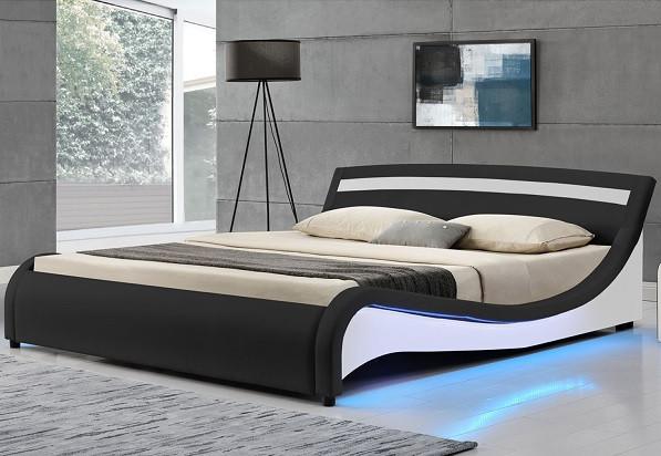 Двуспальная кожаная кровать MALA 180х200 см. с LED подсветкой!