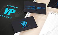 Печать визиток на темно-синем плайке Plike 2s blue