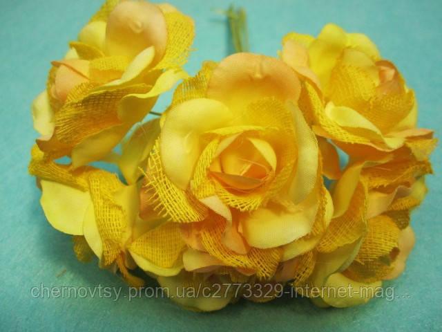"""Роза """"Двухцветная"""" уп. 36 шт. Желтая"""