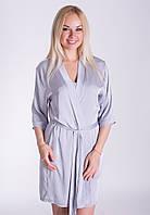 Однотонный женский халат для дома из шелка Х09п