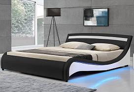 Елегантная кожаная кровать MALA 180х200 см. с LED подсветкой