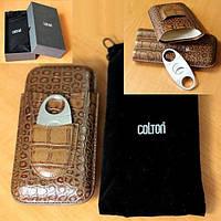 """Футляр для 3-х сигар №320""""А"""" """"COLTON"""" (170х21 мм)+гильотина"""