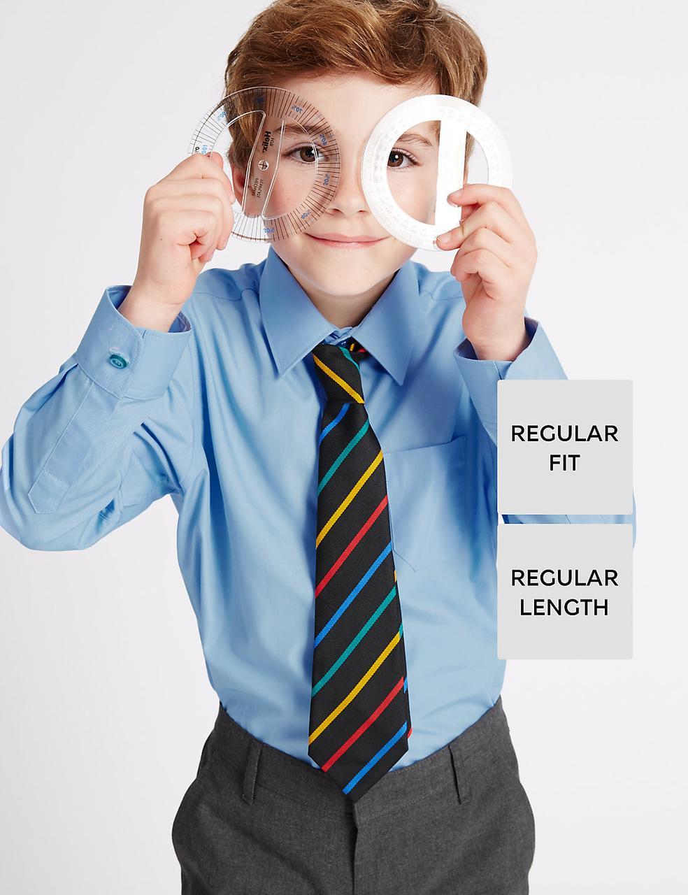 Школьная рубашка голубая с длинным рукавом на мальчика 5-6-7-8-9-10 лет Easy to Iron Marks&Spencer (Англия)