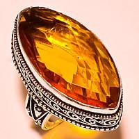 """Шикарное кольцо """"Золотой маркиз"""" с коньячным топазом, размер 18.7 от студии LadyStyle.Biz, фото 1"""