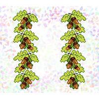 Водорастворимый флизелин с рисунком желуди