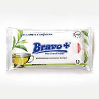 Салфетки влажные BRAVO зелений чай 15 шт.
