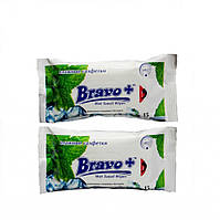 Салфетки влажные BRAVO ледяная мята 15 шт.