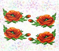 Водорастворимый флизелин с рисунком маки