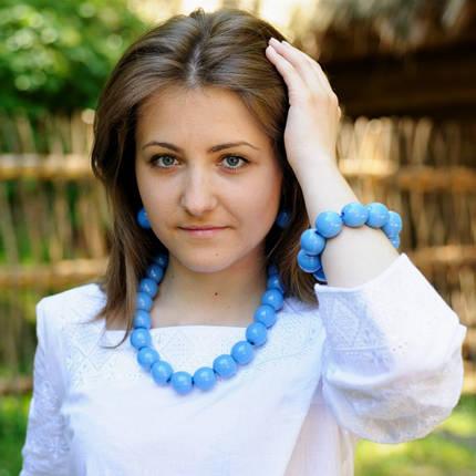 Комплект украшений  бусы, браслет, сережки. Цвет голубой, фото 2