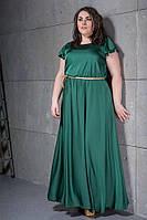 Женское Платье в пол из атласа БАТАЛ