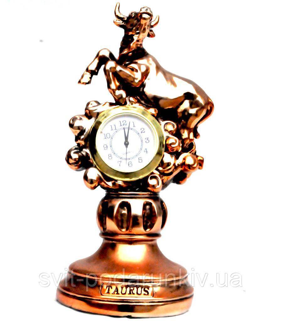 Статуэтка настольные часы знак зодиака Телец T1125