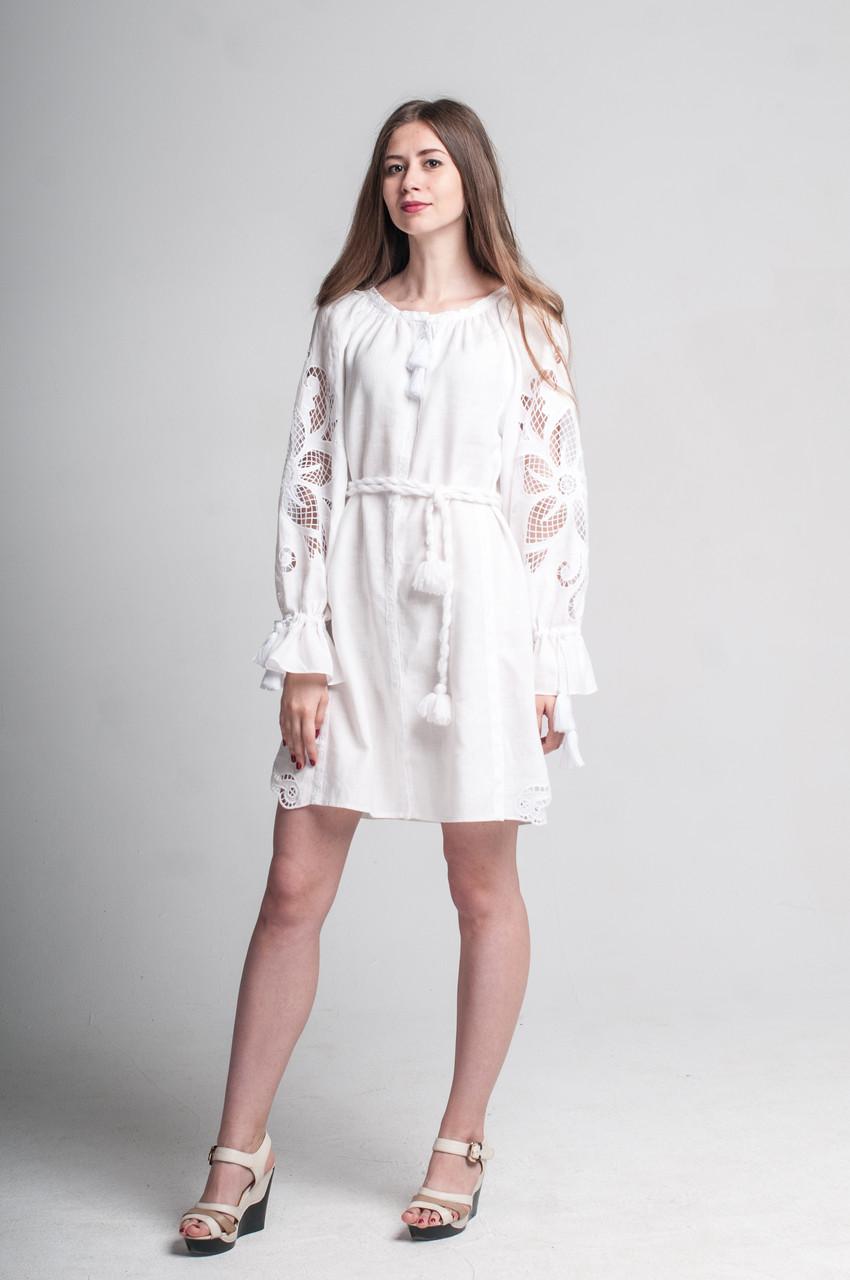 """Сукня жіноча """"Диво-квітка міні"""", білий колір"""