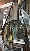 Зеркало круглое настенное  в кожаном ремне.