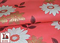 Обои, на стену, бумажные, красный, коралл, белый, цветы, 046-10, 0,53*10м