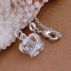 """Кулон жіночий корона на ланцюжку """"Милькиоре"""" покриття срібло 925"""