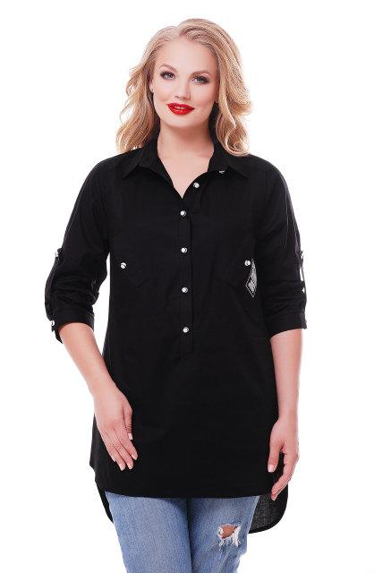 Рубашка женская  Стиль черная (48-58)