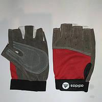 Перчатки для фитнеса женские ZEL BC-3544-M (р.М PL, PVC, открытые пальцы, красные)