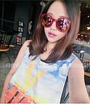 Солнцезащитные очки, цвет линз розовый в краной оправе, фото 2