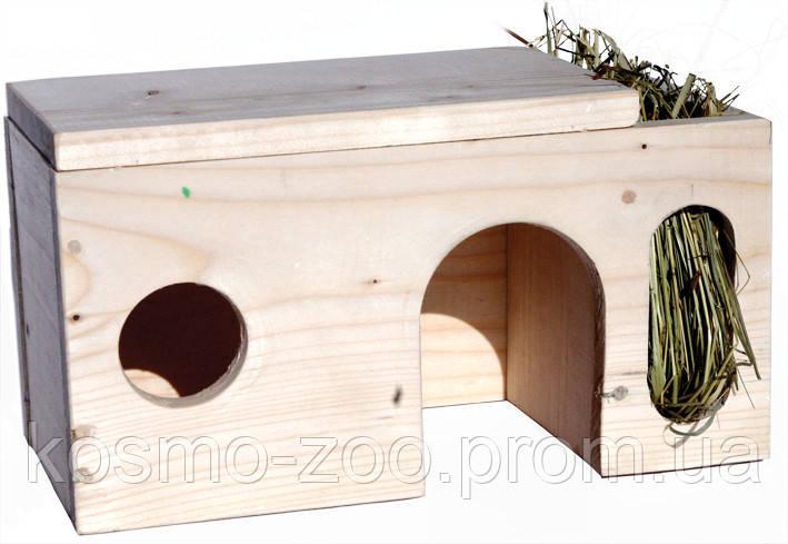Деревянный домик с кормушкой для шиншилл, кроликов и морских свинок, Лори 012\5
