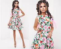 Легкое летнее платье в цветочный принт, пояс в комплекте.