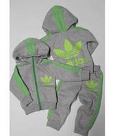 Теплый Детский Спортивный Костюм Двойка в стиле Adidas Светло-серый Рост 74-128 см