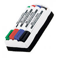 Набір маркерів BUROMAX 8800-84 для магн. дошок 4кол. + губка 2-4мм