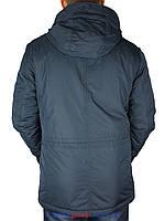 Стильная демисезонная мужская куртка Black vinyl TC16-1087 C.2 темно-синего цвета