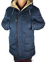 Мужская удлиненная зимняя куртка Indaco IC012-1 2# темно-синего цвета