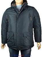 Удлиненная мужская зимняя куртка Black vinyl BC15-927S16 2# в темно-синем цвете