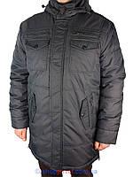 Мужская зимняя удлиненная куртка Santoryo WK 7108 H в сером цвете