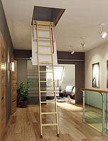 Деревянная трехсекционная чердачная лестница FAKRO LTK Thermo 120х70