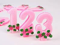 """Свечи  цифры  (в торт) № M029 """"Розы с глиттером"""" №3"""
