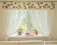 Комплект гардин Батист с кружевом в стиле Прованс Aquarel Lilac