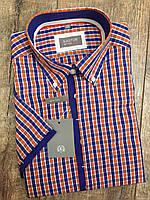 Мужская рубашка KASTOR в сине-оранжевую клетку