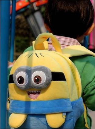 Міньйон-рюкзак дитячий, плюшевий, для дошкільнят або школярів , одно - або двох-глазый, 3D очі