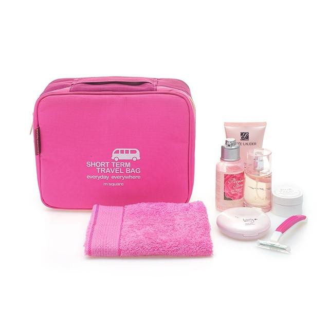 Дорожная косметичка/несессер розовая с косметикой