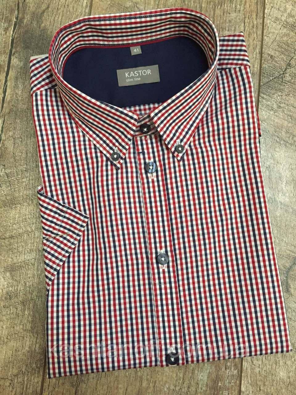 Мужская рубашка KASTOR в сине-красную клетку